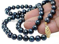 """Long 25"""" 8-9mm Real Black Akoya Cultured Pearl 14K GP Clasp Jewelry Necklace AA+"""