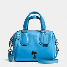 COACH X PEANUTS SNOOPY Blue Mini LEATHER SURREY SATCHEL Purse LIMITED EDITION