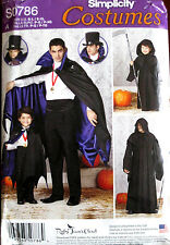 Simplicity BOYS MENS Costume Vampire Dracula Cape Cloak Pattern 0786 1349 UC
