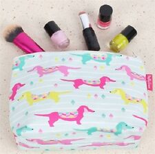 Milly Green Dachsies Dachshund Design Make Up Cometics Wash Bag Pouch Travel
