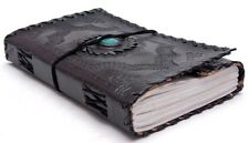Handmade Leather Journal Turquoise Stone Diary Sketchbook Travel Notebook 9x5