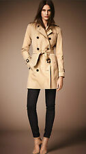 NEW NWT Burberry AUTHENTIC London Kensington Mid Length Trench Coat Honey US 0