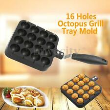 16 Molds Takoyaki Skillet Pan Octopus Grill Tray Mold + Brush Fork Bamboo Stick