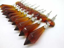 10 Brown Chandelier Glass Crystals Lamp Prisms Parts Hanging Drops Pendants 38mm
