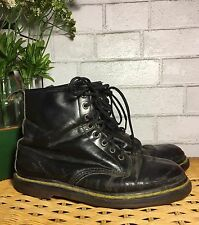 Dr Marten Docs Boots Women's Combat Grunge Black Leather Distressed 90s Vintage