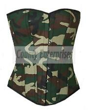 Sexy Overbust Bustier Full Steel Boned Top Army Military Green Camouflage Corset