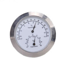 Alloy Silver Round Humidity Thermometer Hygrometer Case For Guitar Mini^