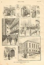 New York, Ludlow Street Jail, Vintage 1890 Antique Art Print