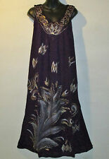 Dress Fits XL 1X PLUS Purple with Gold SIlver Hand Painted Crochet Sundress F84