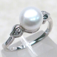 ADORABLE FRESHWATER PEARL 925 STERLING SILVER RING SIZE 8