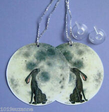 2 MOON GAZING HARE SIGNS FROM ORIGINAL PAINTING FOR HOUSE CAR SUZANNE LE  GOOD