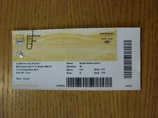 25/09/2012 BIGLIETTO: Manchester City V Aston Villa [FOOTBALL LEAGUE CUP] (completo