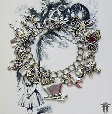 Alice in Wonderland themed MAD HATTER Inspired Charm Bracelet