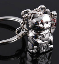 FD1178 Silver Sweet Lucky Cat Funny Cat Metal Keychain Keyring Keyfob Key Gift G
