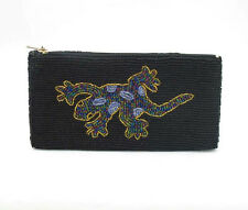 Seed Bead Black Purse with Gecko Design 18cm x 10cm