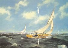 BR82705 ship bateaux michael roffe painting postcard blustery day in the sole uk