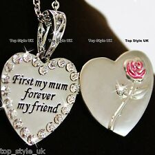 Locket Heart Necklace for Mother  ''First My mum forever my Friend '' Pink Rose