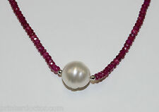 Salt water South Sea Akoya Baroque Pearl Red Ruby necklace 14K White Gold clasp