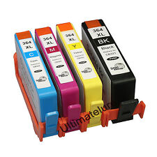 4X HP 364XL Ink Cartridge(B C Y M)W/Chips FOR Photosmart D5460 C5324 C309A B8550