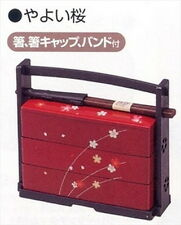 Japanese Sakura Lunch Bento Box w/Chopsticks Three Tiers Red 06423