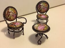 Original Antique Limoges France miniature doll house set tables chairs (m1235)