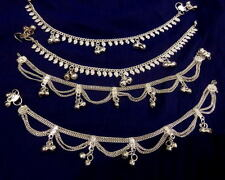 women lot 4 silver bells paisley chain anklet ankle bracelet Indian costume 10""