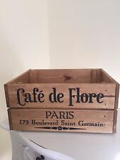 WOODEN Cafe de Flore PARIS DESIGN VINTAGE VINO CRATE BOX STORAGE SHABBY CHIC