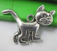Free shipping 20pcs Retro style lovely cat alloy charms pendants 28x22mm