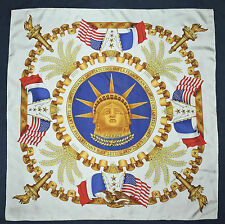 "RARE Authentic HERMES Metz Centennial LIBERTY Blue Red Gold WHITE 35"" Silk Scarf"