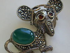 Natural Garnet Agate & Marcasite Sterling Silver Whimsical Mouse Brooch Pin