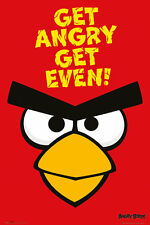 POSTER ANGRY BIRDS-Get Angry! get even! Red Face (game) ca 60x90cm NUOVO 58227