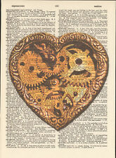 Steampunk Heart Gears Brass Altered Art Print Upcycled Vintage Dictionary Page