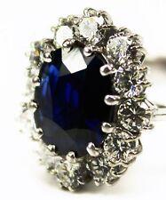 prachtvoller 3,30ct. Ring mit großem Saphir Brillanten Weißgold Art Deco Luxus