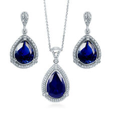 Silver Pear Simulated Sapphire CZ Halo Bridesmaids Necklace Earrings Set