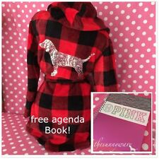 Victoria Secret Pink Bling Dog Soft Plush Red Black Check Plaid Hooded Robe XS/S