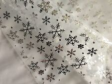 White Frozen Snowflake Organza Fabric by the Yard - ORG11