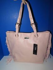 By BCBG Peach Leather Fringe Tote Large Shoulder Bag DC14-BCBGP-0065