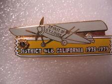 Lions Club Pin Spirit of St. Louis Airplane 1978-1979 California Dist. 4L6