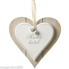 Mums Hotel - Shabby Chic Heart Wooden Hanging Plaque - Sign - Saying - White