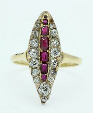 A Stunning Ruby & Old Mine Cut Diamond Marquise Shaped Cluster Ring Circa 1800's