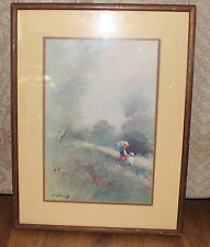 VINTAGE A. SEHRING FRAMED PRINT LITHOGRAPH MOTHER AND CHILD WALK IN THE MEADOW