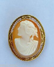Exquisite Classic Cameo Broach - 10k Yellow Gold