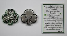 q Faith Irish shamrock celtic SPECIAL BLESSING FOR YOU Pocket Token Charm ganz