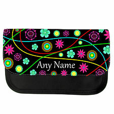 PERSONALISED FUNKY FLOWERS GIRLS BOYS PENCIL CASE/MAKE UP BAG BIRTHDAY XMAS