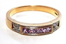 9CT YELLOW GOLD  CHANNEL SET  PINK SAPPHIRE & DIAMOND ETERNITY RING  Size O