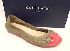 COLE HAAN Size 6.5 Beige Perforated Ballet Flats Pink Cap Toe Shoes 6 1/2 NIke A