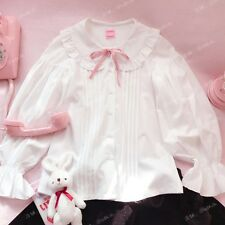 Sweet Preppy Style Mori Girl Puff Sleeve Vintage Japanese Bowknot Blouse Tops