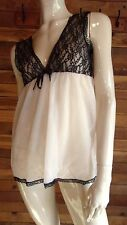 VINTAGE PEACH CHIFFON with BLACK LACE SIZE XXS BABYDOLL NIGHTGOWN