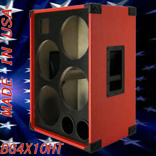 4X10 with Tweeter Bass Guitar Speaker Empty Cabinet Fire Red Tolex BG4X10HTFR