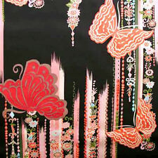 "1 yard 22 inches ROBERT KAUFMAN ""SAKURA"" BUTTERFLY Black"